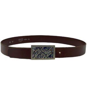 Vintage Sterling Silver Abalone Leather Belt Sz 36
